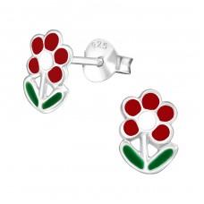 Flower - 925 Sterling Silver Colorful ear studs for kids A4S980