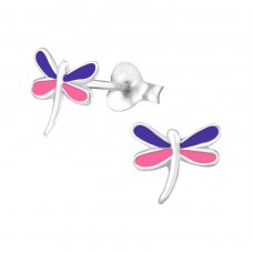 Dragonfly - 925 Sterling Silver Colorful ear studs for kids A4S987