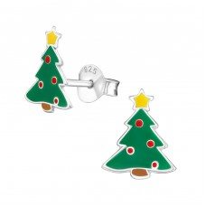 Christmas Tree - 925 Sterling Silver Colorful ear studs for kids A4S989