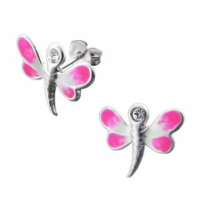 Dragonfly - 925 Sterling Silver Crystal Ear Studs A4S12749