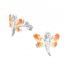 Dragonfly - 925 Sterling Silver Crystal Ear Studs A4S13214