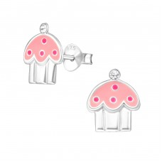 Cupcake - 925 Sterling Silver Crystal Ear Studs A4S13428