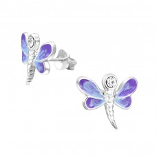 Dragonfly - 925 Sterling Silver Crystal Ear Studs A4S13476