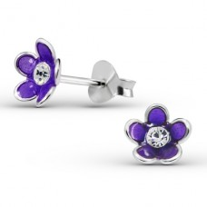 Flower - 925 Sterling Silver Crystal Ear Studs A4S15131