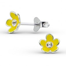 Flower - 925 Sterling Silver Crystal Ear Studs A4S15132