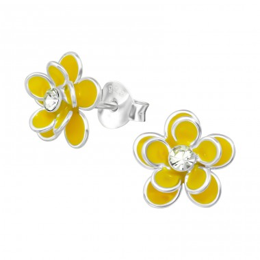 Flower - 925 Sterling Silver Crystal Ear Studs A4S15147