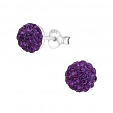 Round - 925 Sterling Silver Crystal Ear Studs A4S1514
