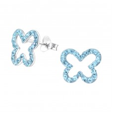 Butterfly - 925 Sterling Silver Crystal Ear Studs A4S15798