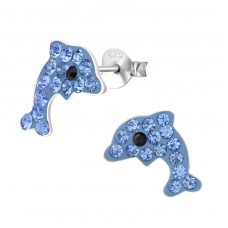 Dolphin - 925 Sterling Silver Crystal Ear Studs A4S15902