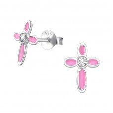 Cross - 925 Sterling Silver Crystal Ear Studs A4S16287