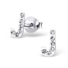 Initial J - 925 Sterling Silver Crystal Ear Studs A4S16321