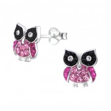 Owl - 925 Sterling Silver Crystal Ear Studs A4S16512