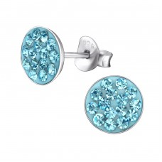 Round - 925 Sterling Silver Crystal Ear Studs A4S174