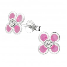 Flower - 925 Sterling Silver Crystal Ear Studs A4S17660