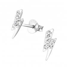 Thunderbolt - 925 Sterling Silver Crystal Ear Studs A4S17670