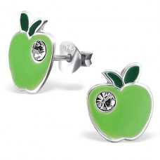 Apple - 925 Sterling Silver Crystal Ear Studs A4S17694