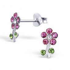 Flower - 925 Sterling Silver Crystal Ear Studs A4S17826