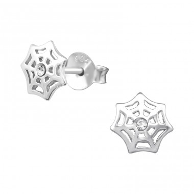 Web - 925 Sterling Silver Crystal Ear Studs A4S17850