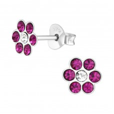 Flower - 925 Sterling Silver Crystal Ear Studs A4S17920