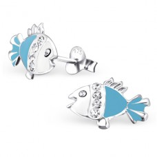 Fish - 925 Sterling Silver Crystal Ear Studs A4S18208