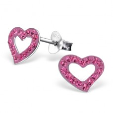 Heart - 925 Sterling Silver Crystal Ear Studs A4S18302