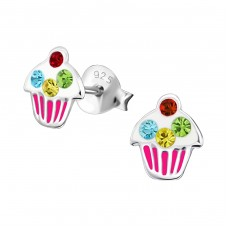 Cupcake - 925 Sterling Silver Crystal Ear Studs A4S18689