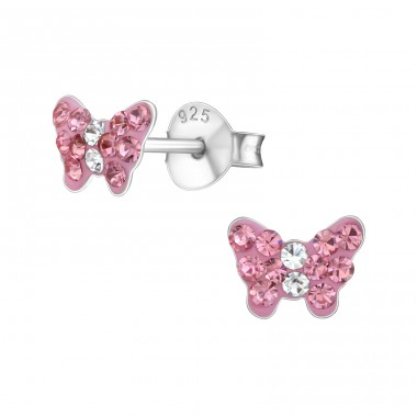 Butterfly - 925 Sterling Silver Crystal Ear Studs A4S18814