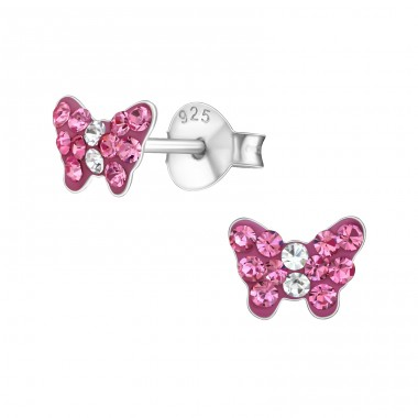 Butterfly - 925 Sterling Silver Crystal Ear Studs A4S18815