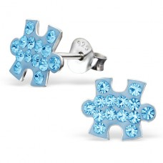 Jigsaw - 925 Sterling Silver Crystal Ear Studs A4S19152