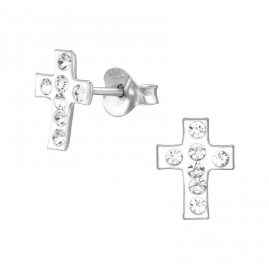 Cross - 925 Sterling Silver Crystal Ear Studs A4S19223