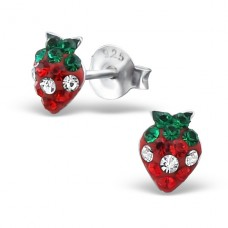 Strawberry - 925 Sterling Silver Crystal Ear Studs A4S19442