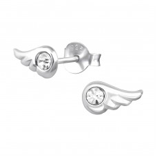 Wing - 925 Sterling Silver Crystal Ear Studs A4S19547