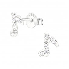 Music Note - 925 Sterling Silver Crystal Ear Studs A4S19633