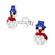 Snowman - 925 Sterling Silver Crystal Ear Studs A4S19882