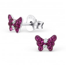 Butterfly - 925 Sterling Silver Crystal Ear Studs A4S20050