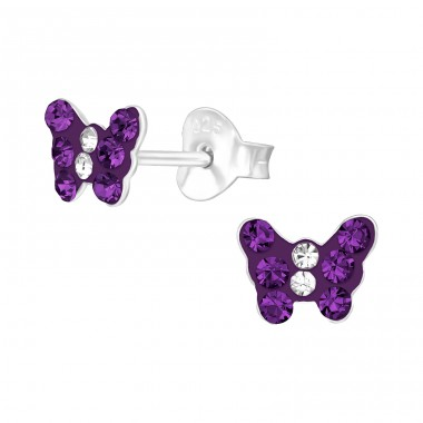 Butterfly - 925 Sterling Silver Crystal Ear Studs A4S20052