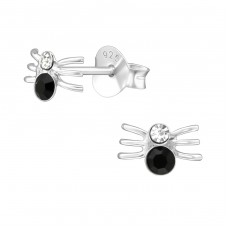 Spider - 925 Sterling Silver Crystal Ear Studs A4S20282