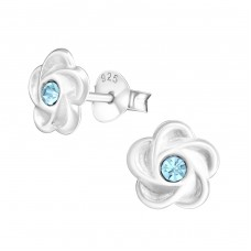 Flower - 925 Sterling Silver Crystal Ear Studs A4S20285