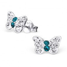 Butterfly - 925 Sterling Silver Crystal Ear Studs A4S20577