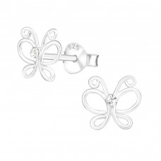 Butterfly - 925 Sterling Silver Crystal Ear Studs A4S21844