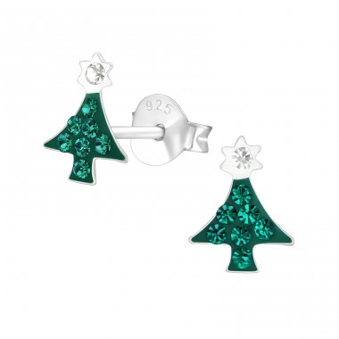 Christmas Tree - 925 Sterling Silver Ear studs with crystals A4S21900