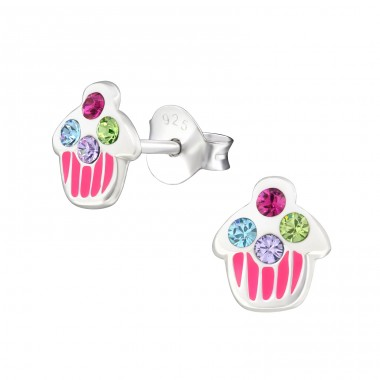 Cupcake - 925 Sterling Silver Crystal Ear Studs A4S21941