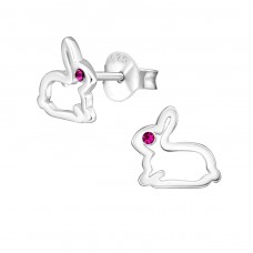Rabbit - 925 Sterling Silver Crystal Ear Studs A4S22212