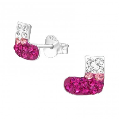 Socks - 925 Sterling Silver Ear studs with crystals A4S22278