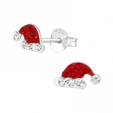 Santa Hat - 925 Sterling Silver Ear studs with crystals A4S22280