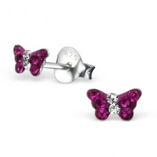 Butterfly - 925 Sterling Silver Crystal Ear Studs A4S22281