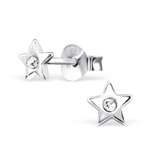 Star - 925 Sterling Silver Crystal Ear Studs A4S22315