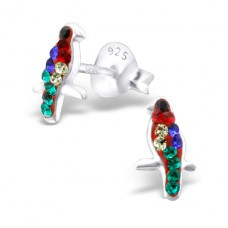 Bird - 925 Sterling Silver Crystal Ear Studs A4S22335