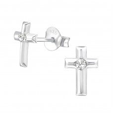 Cross - 925 Sterling Silver Crystal Ear Studs A4S22341