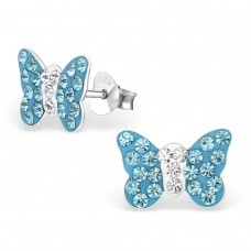 Butterfly - 925 Sterling Silver Crystal Ear Studs A4S2255